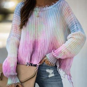 Tate cotton tie dye distressed sweater